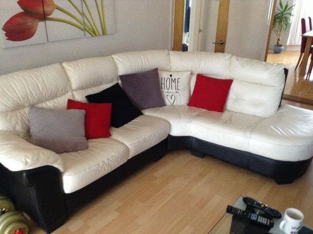 White leather corner settee