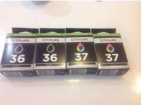 Lexmark printer Ink black x2 (36) and Colour x2 (37)