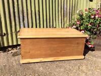 Lovely antique pine storage chest trunk