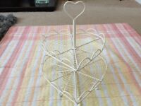 Cream 2 Tier Heart Shaped Cake Stand.