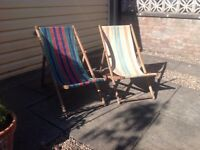 Two Vintage Deck Chairs