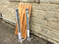 Small oak kitchen worktop and adjustable silver worktop legs