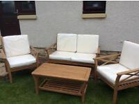 4 piece set sofa and 2 chair set in hardwood including coffee table