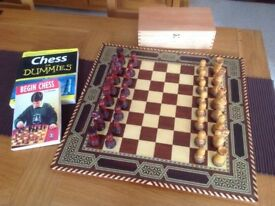 Brand New Handcrafted Chess Set (including 2 books)