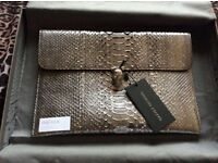 Auth Alexander McQueen exotic Python leather evenlope clutch with silver skull