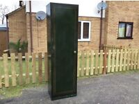 1940's VINTAGE TALL GREEN ADJUSTABLE SHELVING STORAGE LOCKER ( TWO AVAILABLE )