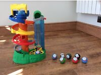 My first Thomas and friends rail rollers spiral station train with 5 extra balls..