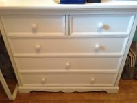 Childrens white 2+3 chest of drawers / bedroom furniture