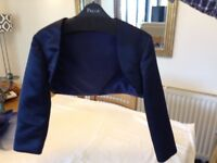 Bolero jacket- navy blue satin. Hand made by professional dressmaker. Approx size 12