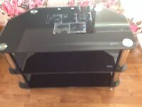 Black/Silver glass TV stand