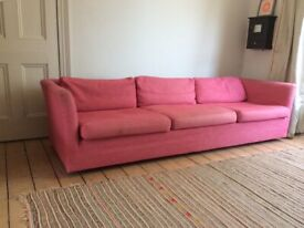 four seater vintage sofa, 60's vibe, designers guild fabric
