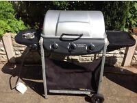 3 burner gas steel BBQ with side burner and utensils
