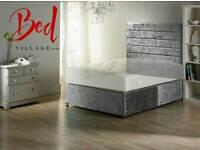 CHEAP CRUSHED VELVET DIVAN BED + MATTRESS + HEADBOARD 3FT 4FT 4FT6 DOUBLE 5FT 6FT