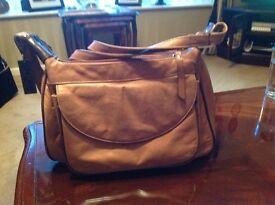Tan leather handbag with shoulder strap