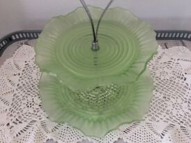 2 Tier Vintage Green Glass Cake Stand.