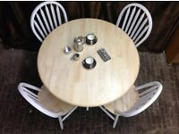 Farmhouse shabby chic round pine wood dinning table & chairs for sale