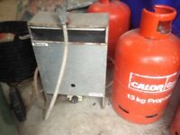 Greenhouse heater and 2 X 13 kilo gram gas cylinders.