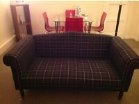 Vintage sofa with Tartan upholstered fabric