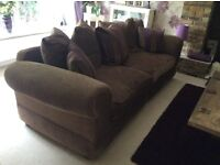 LARGE 4 SEATER SOFA IN AUBERGINE MIX FABRIC IN EXCELLENT CONDITION AS ONLY USED OCCASIONALLY