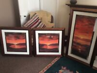 Set of 3 Lake District pictures in copper frames