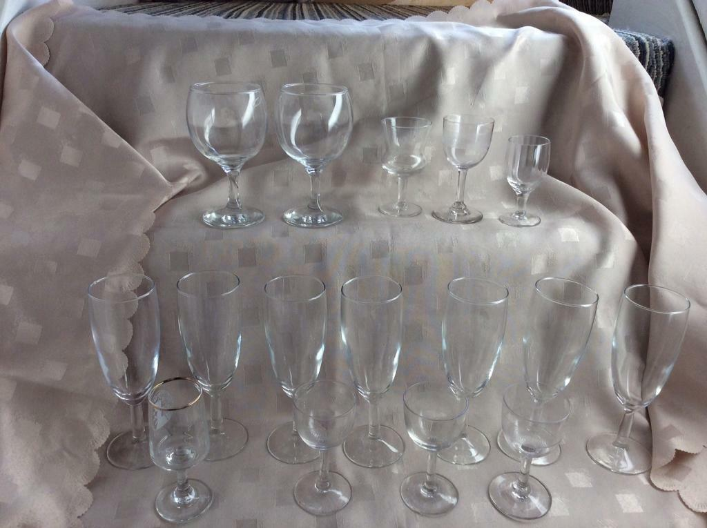 Glasses large box of new flutes and Collectible Glasses over 30 five pound the lot