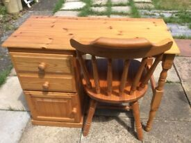 Solid Pine Desk/Dressing Table and chair in excellent condition