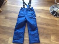 Boys blue ski trousers/sallopettes. Age 10-11. Immaculate condition.