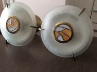 Two pendant light fittings, frosted & stained glass