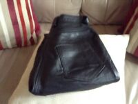 Black leather trousers small size 10