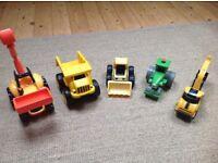 ELC tractor, CAT digger and dumper truck, bob the builder steam roller, digger