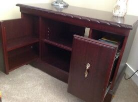 Unit sideboard /bookcase/TV unit with 2 sliding pull out drawers dark wood