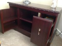 Unit for Lounge or study with 2 sliding pull out drawers dark wood