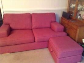 2 X 2 SEATER SOFAS plus large FOOTSTALL with storage VGC Hethersett