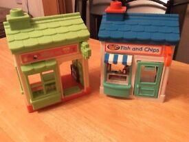 Happyland shops - fish & chip shop and village vets