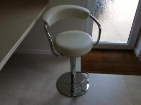 Two Cream Faux Leather Bar Stools .......... *** NEW ***