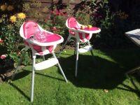 Excellent Condition! Only been used occasionally. These high chairs convert to chairs.