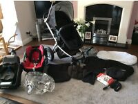 Mothercare My4 - 3 in 1 pram/travel system inc MaxiCosi car seat and EasyBase