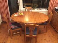 Oval or round solid pine table and solid pine chairs