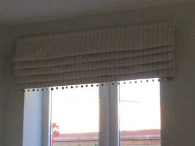 Three roman blinds, duck egg, cream and white striped