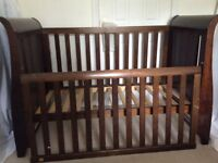 Cot bed Boori Country Colection Sleigh design English Oak Brown with under drawer