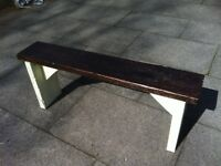 garden bench rustic reclaimed aprox 4ft very heavy- reclaimed wood protected weather proof paint