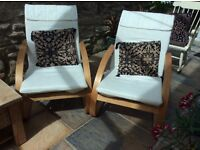 Two occasional chairs with cream covers. Webbing recently replaced. Good/fair condition