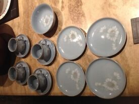 Denby Dawn blue mugs on saucers x 4 side plates one soup bowl