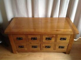 Double sided Coffee storage solid oak table. Top opening £190