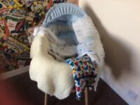Moses basket,stand,blankets,sheets quilt and baby sleeping bags