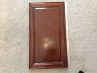 PAIR MAGNET MAHOGANY KITCHEN UNIT DOORS.