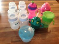 4 Avent bottles and 4 drinking cups