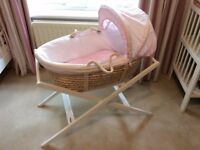 Moses Basket and Stand. John Lewis Waffle Moses Basket.