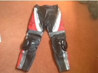 RST leather motorbike trousers 34 waist long leg with knee sliders