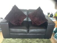 Two seater and single seater faux leather brown suite